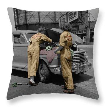 Women Auto Mechanics Throw Pillow by Andrew Fare