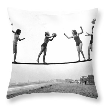 Women Play Beach Basketball Throw Pillow by Underwood Archives