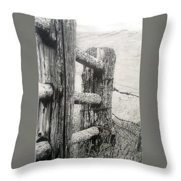Wood And Wire Throw Pillow by Jackie Mestrom