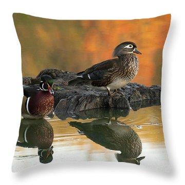 Wood Ducks Throw Pillow by Dale Kincaid