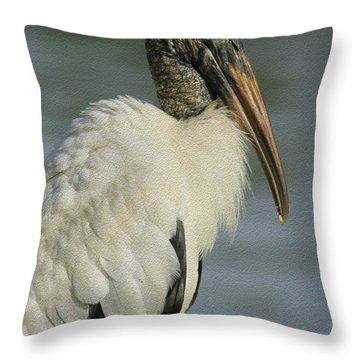 Wood Stork In Oil Throw Pillow by Deborah Benoit