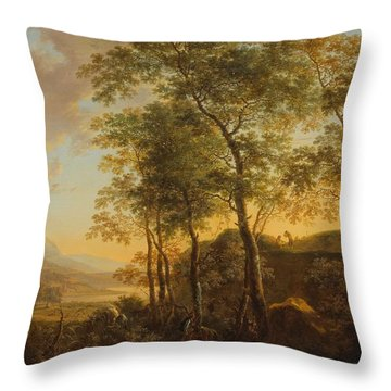 Wooded Hillside With A Vista Throw Pillow by Jan Both