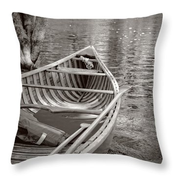 Wooden Canoe Throw Pillow by Edward Fielding