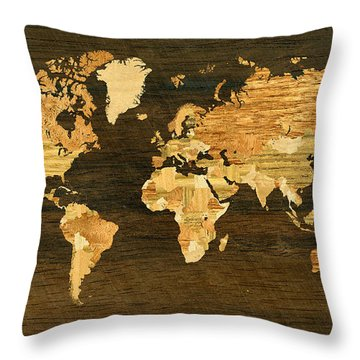 Wooden World Map Throw Pillow by Hakon Soreide