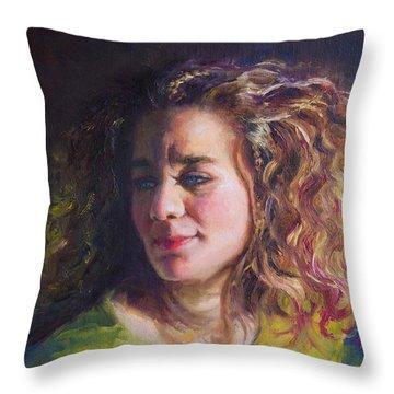 Work In Progress - Self Portrait Throw Pillow by Talya Johnson