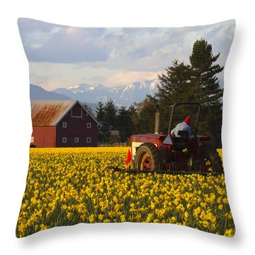 Working Gold Throw Pillow by Mike  Dawson