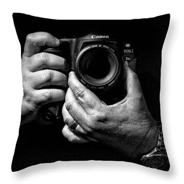 Working Hands Throw Pillow by Jeff Burton