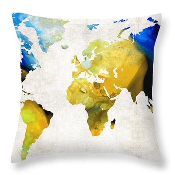 World Map 16 - Yellow And Blue Art By Sharon Cummings Throw Pillow by Sharon Cummings