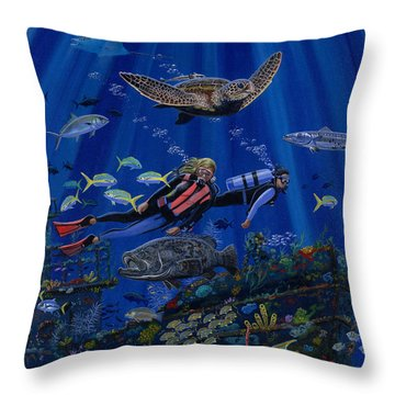 Wreck Divers Re0014 Throw Pillow by Carey Chen
