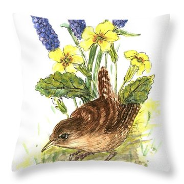 Wren In Primroses  Throw Pillow by Nell Hill