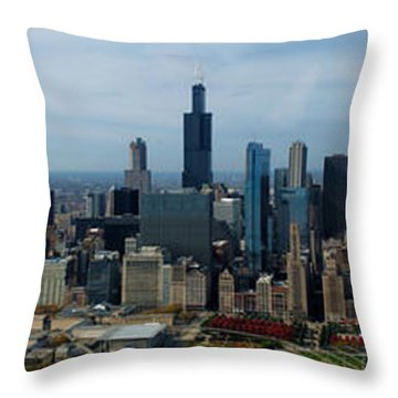 Wrigley And Us Cellular Fields Chicago Baseball Parks 3 Panel Composite 01 Throw Pillow by Thomas Woolworth