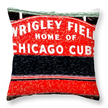 Wrigley Field Chicago Cubs Sign Digital Painting Throw Pillow by Paul Velgos