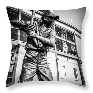 Wrigley Field Ernie Banks Statue In Black And White Throw Pillow by Paul Velgos