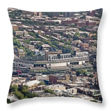 Wrigley Field - Home Of The Chicago Cubs Throw Pillow by Adam Romanowicz