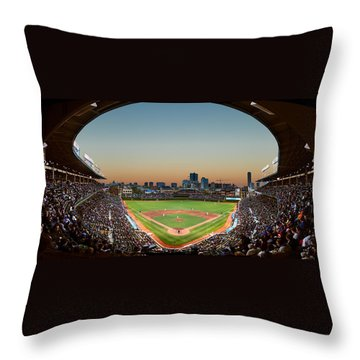 Wrigley Field Night Game Chicago Throw Pillow by Steve Gadomski