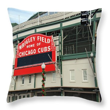 Wrigley Field Throw Pillow by Skip Willits