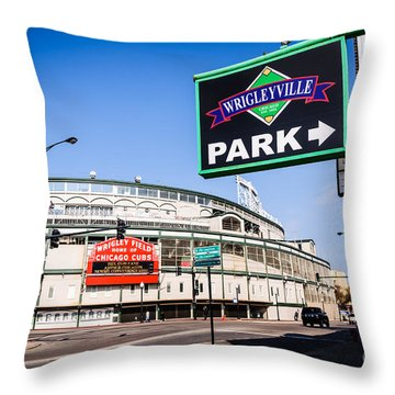 Wrigleyville Sign And Wrigley Field In Chicago Throw Pillow by Paul Velgos