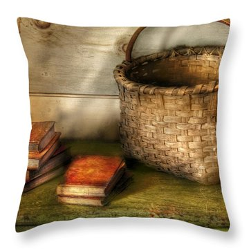 Writer - A Basket And Some Books Throw Pillow by Mike Savad
