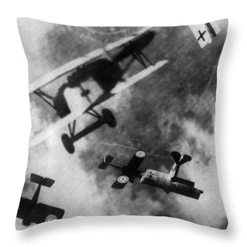 Wwi German British Dogfight Throw Pillow by Nypl