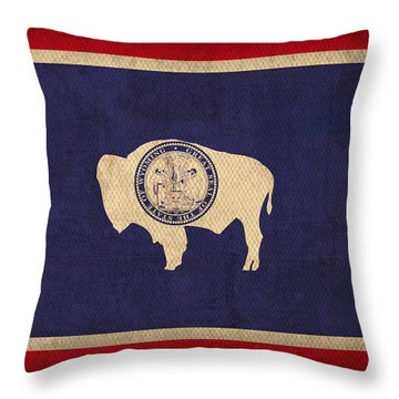 Wyoming State Flag Art On Worn Canvas Throw Pillow by Design Turnpike