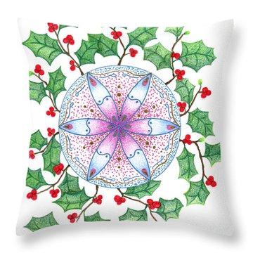 X'mas Wreath Throw Pillow by Keiko Katsuta