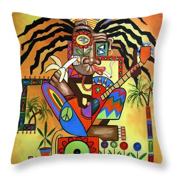 Ya Mon 2 No Steal Drums Throw Pillow by Anthony Falbo