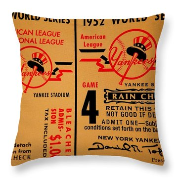 Yankees 4th Straight - Vintage Throw Pillow by Benjamin Yeager