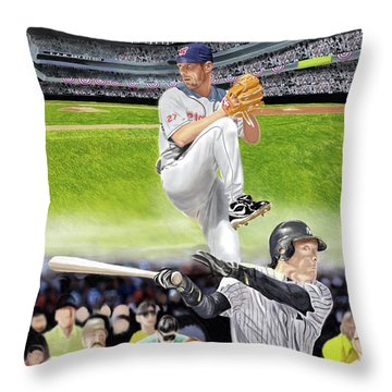 Yankees Vs Indians Throw Pillow by Thomas J Herring
