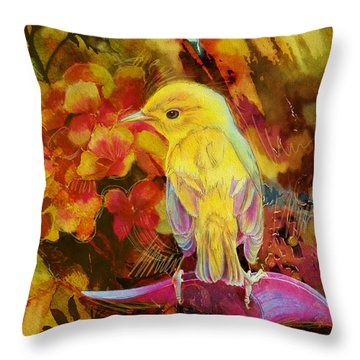Yellow Bird Throw Pillow by Catf