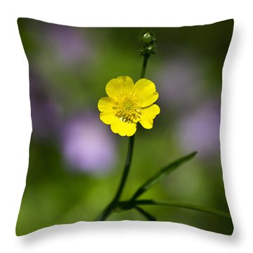 Yellow Buttercup Throw Pillow by Christina Rollo