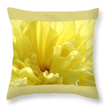 Yellow Dahlia Burst Throw Pillow by Ben and Raisa Gertsberg
