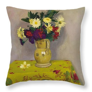 Yellow Daisies And Various Flowers Throw Pillow by Felix Edouard Vallotton