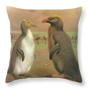 Yellow Eyed Penguin And Snares Crested Penguin  Throw Pillow by J G Keulemans
