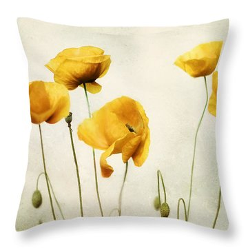 Yellow Poppy Photography - Yellow Poppies - Yellow Flowers - Olive Green Yellow Floral Wall Art Throw Pillow by Amy Tyler