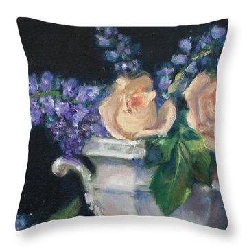 Yellow Roses Throw Pillow by Sarah Parks