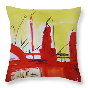 Yellow Sky Industry Throw Pillow by Mary Carol Williams