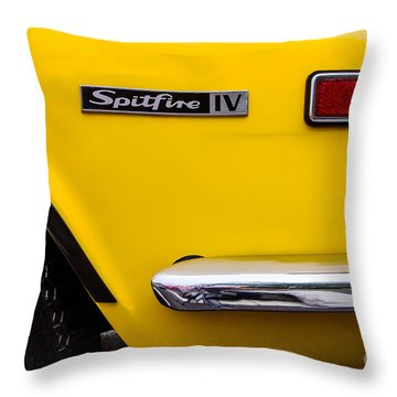 Yellow Triumph Spitfire Throw Pillow by Jerry Fornarotto