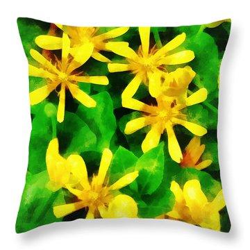 Yellow Wildflowers Throw Pillow by Susan Savad
