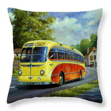 Yelloways Seagull Coach. Throw Pillow by Mike  Jeffries