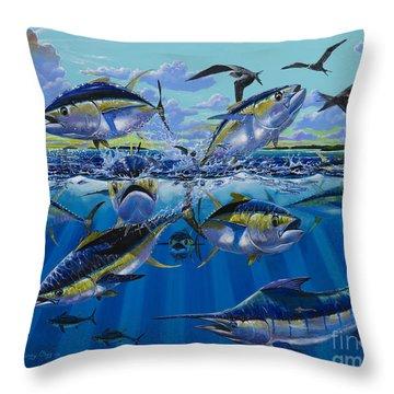 Yellowfin Run Off002 Throw Pillow by Carey Chen