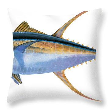 Yellowfin Tuna Throw Pillow by Carey Chen