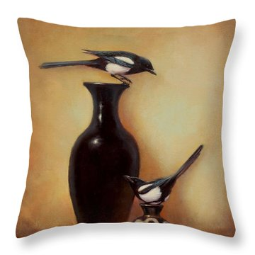Yin Yang - Magpies  Throw Pillow by Lori  McNee