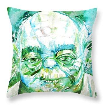 Yoda Watercolor Portrait Throw Pillow by Fabrizio Cassetta