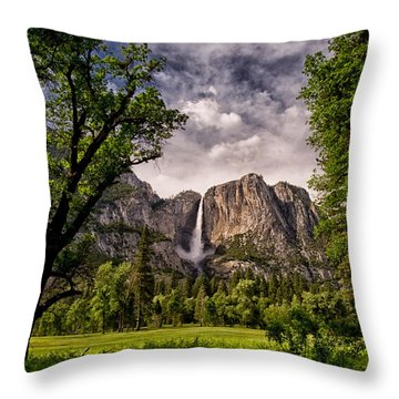 Yosemite Falls Throw Pillow by Cat Connor