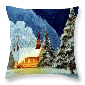 Yosemite Valley Chapel Throw Pillow by Bill Holkham