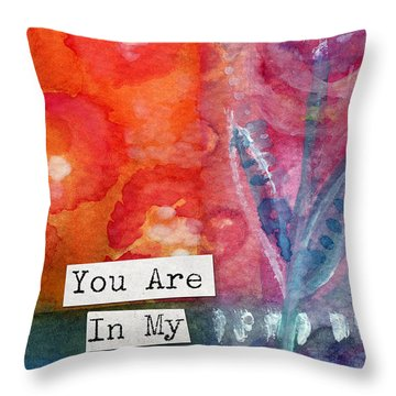 You Are In My Prayers- Watercolor Art Card Throw Pillow by Linda Woods