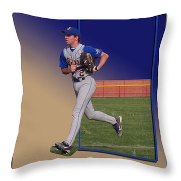 Young Baseball Athlete Throw Pillow by Thomas Woolworth