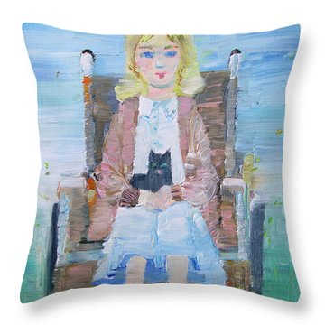 Young Girl-with Cat- On Wheelchair Throw Pillow by Fabrizio Cassetta