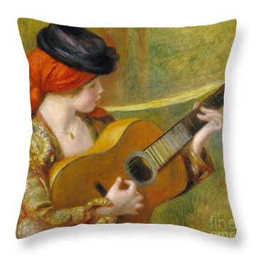 Young Spanish Woman With A Guitar Throw Pillow by Pierre Auguste Renoir