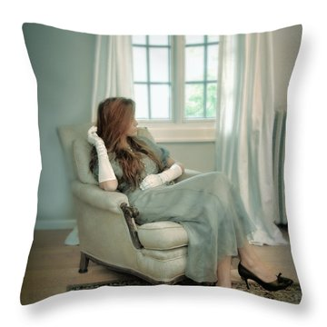 Young Woman In A Chair Throw Pillow by Jill Battaglia